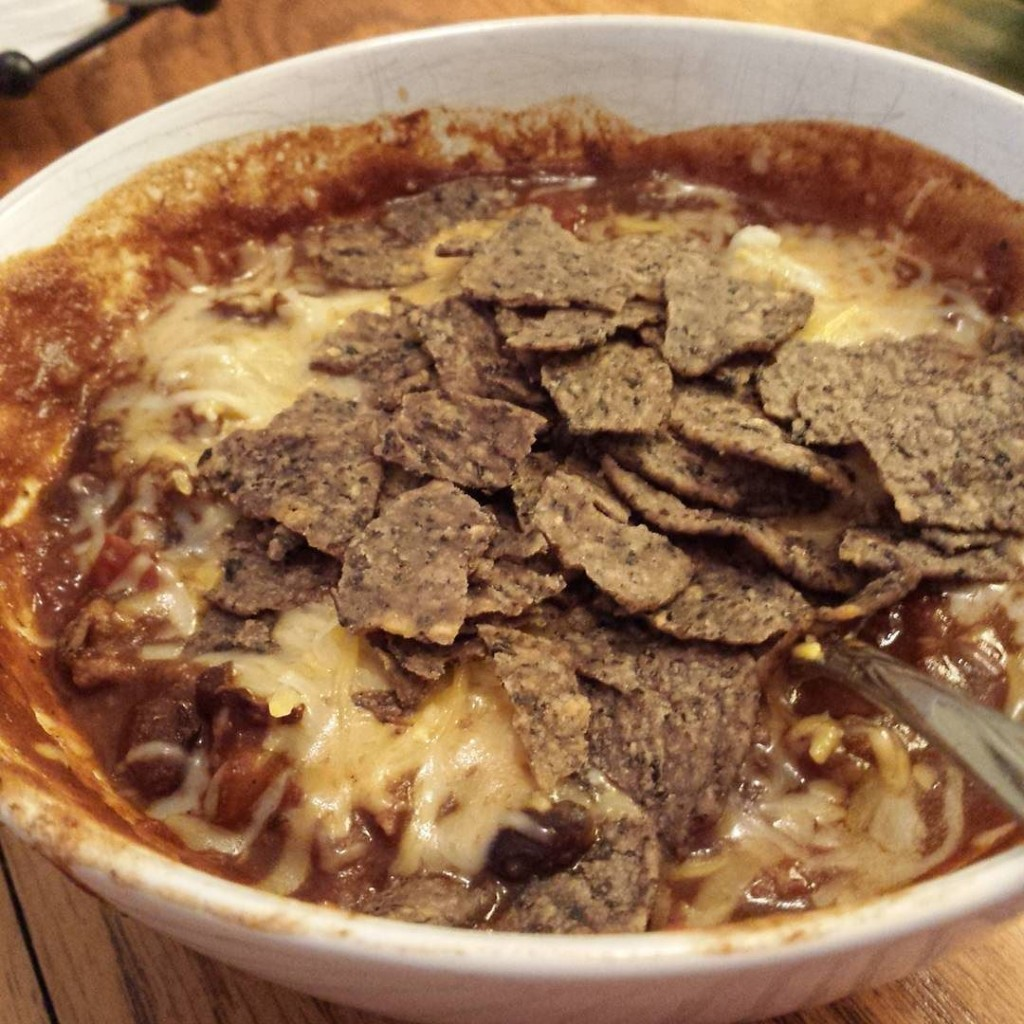 Beanito pie: Turkey chili, Beanitos and some shredded cheese.