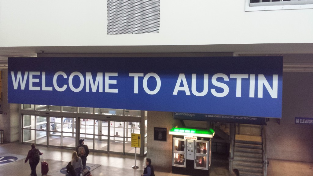 The welcome banner at Austin airport.