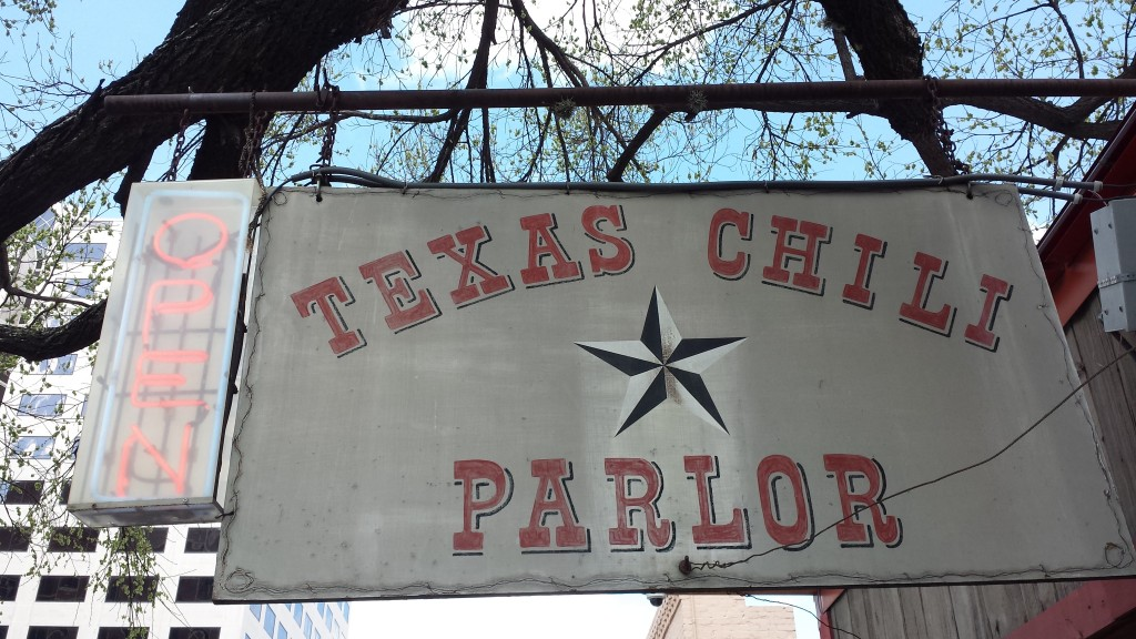 Texas Chili Parlor sign Austin, TX
