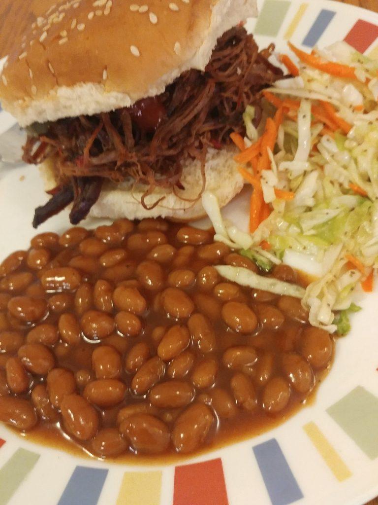 Brisket, slaw and beans