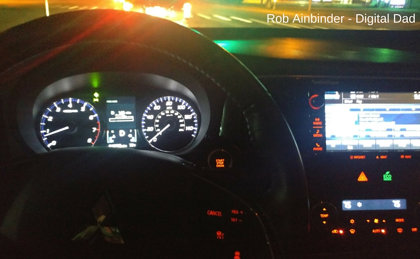 A view of the illuminated instrument panel of the Outlander SEL