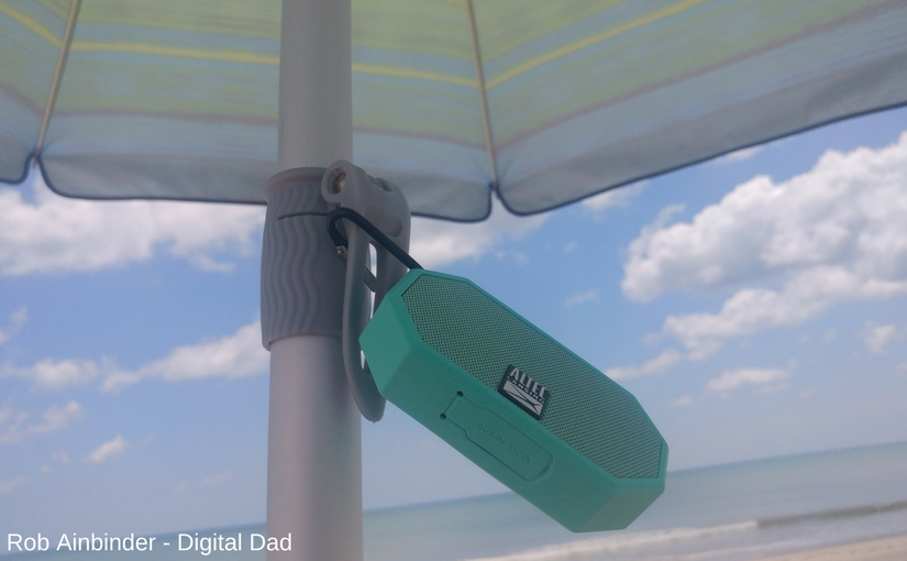 Carabiner gets the Altec Lansing Mini H20 Bluetooth speaker up out of the way while at the beach