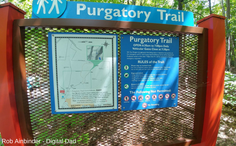 Sign at the trail head for Purgatory Mountain