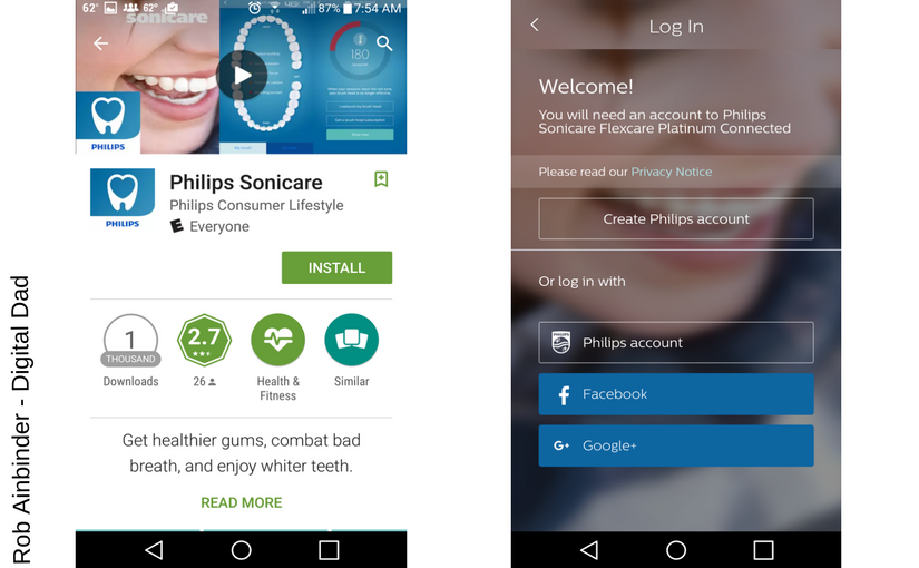 Sonicare app screens