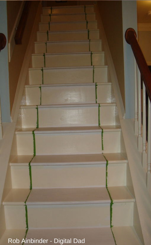 Stair makeover starting with the trim color paint.